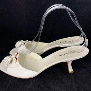 Prada White Kitten Heel Tassel Mules (39.5)